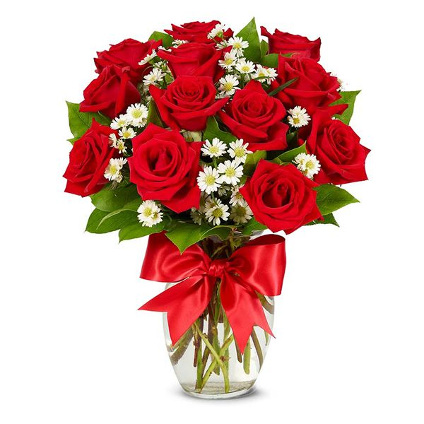 12 Red Roses and Daisies in Vase Resim 1