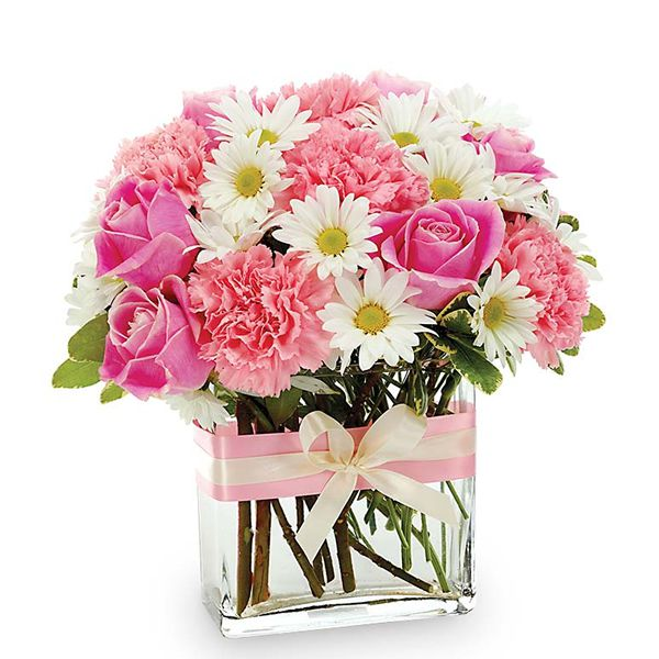 Pink and White Flowers in a Square Vase Resim 1